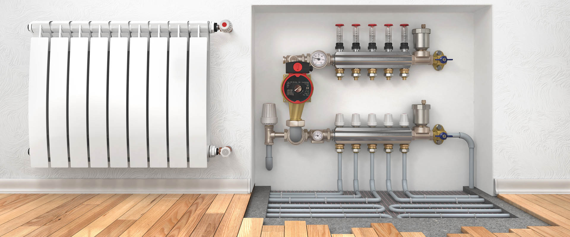 Heating concept. Underfloor heating with collector in the room. Concept of technology heating. 3d illustration